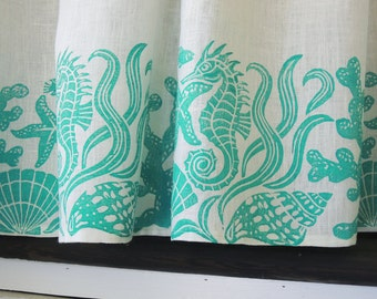 Sea Life linen cafe curtain nautical home decor hand block printed window treatment