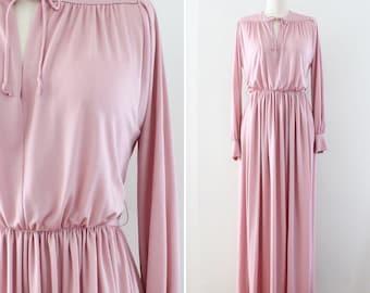 blush rose pink maxi dress - full length jersey dress - size Medium - 1970s