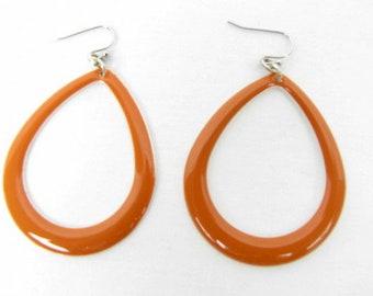 """Mod Orange Dangle Hoop Earrings / Retro Earrings / Handcrafted / Enamel / Drop Earrings / Pierced Ear Wire / Lightweight / 2 1/2"""""""
