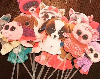 Beanie Boo Cupcake Toppers - Birthday Cupcake Toppers