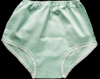 Vintage Turquoise Cotton Handmade Panties  With Lace Medium