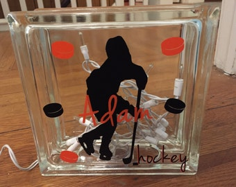 Glass Block, Hockey Glass Block, Hockey Block, Hockey Player Glass Block, Hockey Player Block