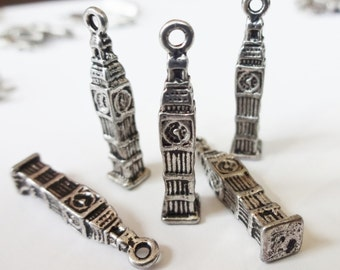 10 Clock Tower Charms (3D) 25x2x2mm ITEM:Y16