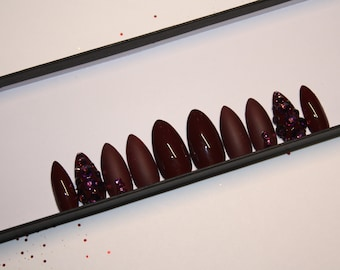 Burgundy Swarovski Crystal press on nails