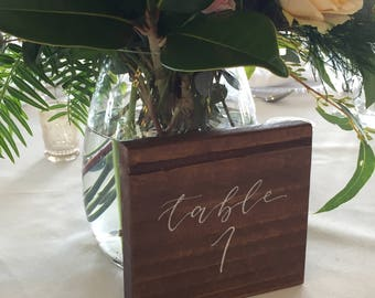 Wedding Wood Table Numbers | Table Numbers | Wedding Sign | Handwritten Calligraphy Table Number | Reclaimed Timber
