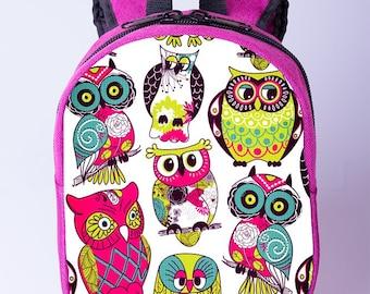 Owls backpack  Toddler owl print backpack Kids backpack Preschool backpack Small backpack Pink backpack for girls