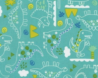 Dinosaur Fabric, Sketched Dino, Fabric by the Yard, Outline, by the Half Yard, Fat Quarter, Royal Blue, Turquoise, Green, Timeless Treasures