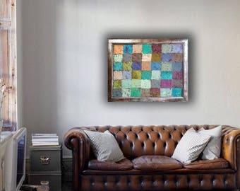 Original MENDOZA Cubist Abstract modern contemporary painting art