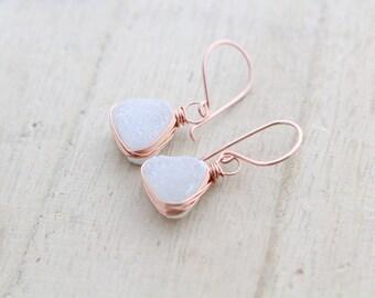 Druzy Gold Earrings , Dangle Druzy Drop Triangle Earrings , Gold , Rose Gold , Sterling Silver , Modern Druzy Jewelry - Snow