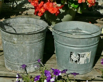 2 Vintage  Shabby Galvanized Metal Garden Farm Water Grain Bucket Planter Pail Think SPRING