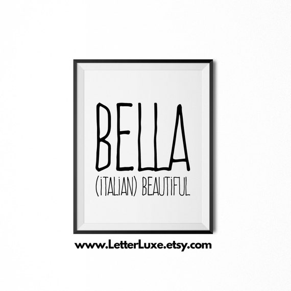 Bella name meaning art printable baby shower gift nursery negle Images