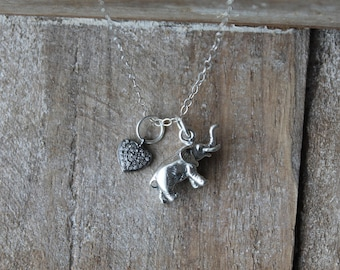Elephant 3d sterling silver charm - pave diamond AAA quality heart charm - sterling silver necklace