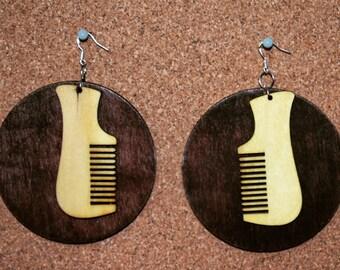 Wooden Comb Earrings