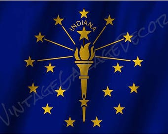 Indiana State Flag on a Metal Sign