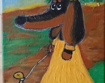 Original Acrylic painting . Strange world of dachshund Violetta.