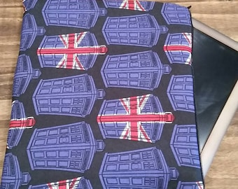 Dr Who Tablet and iPad Case  , Zippered Tablet Case, iPad Case, Padded Tablet and iPad Case, Whovians, NerdNeeds, Licensed Dr Who Material