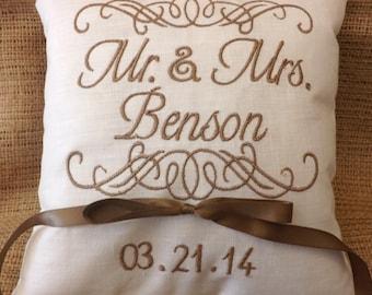 Ring Bearer Pillow, ring bearer pillows, wedding pillow, ring pillow, Mr. & Mrs., custom, personalized, monogram, embroidered