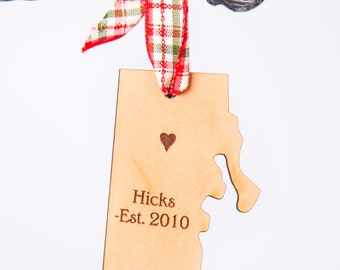 Rhode Island State Shape Ornament Rhode Island Ornament Ocean State Ornament State Shape Ornament Leather Ornament Personalized State Gifts