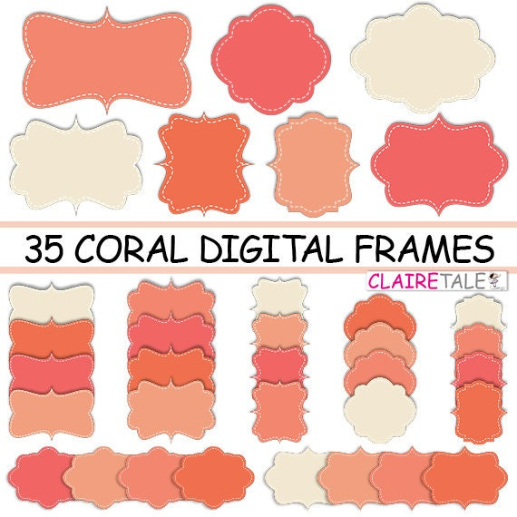 "Digital clipart labels: ""CORAL DIGITAL FRAMES"" clipart frames, labels, tags for scrapbooking, cards, invitation, stationary, albums"