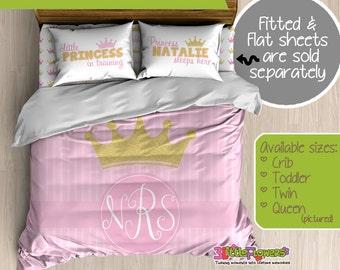 Gold Pink Princess Custom Comforter/Duvet - Kids Comforter - Kids Duvet - Customized Children Bedding - Kids Pillowcase - Gold Crown Bedding