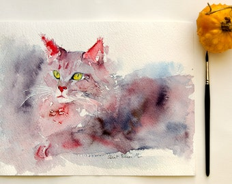 Original watercolor painting of a Maine con cat -  original  painting of a Maine Coon cat - gift idea - pink Maine Coon cat