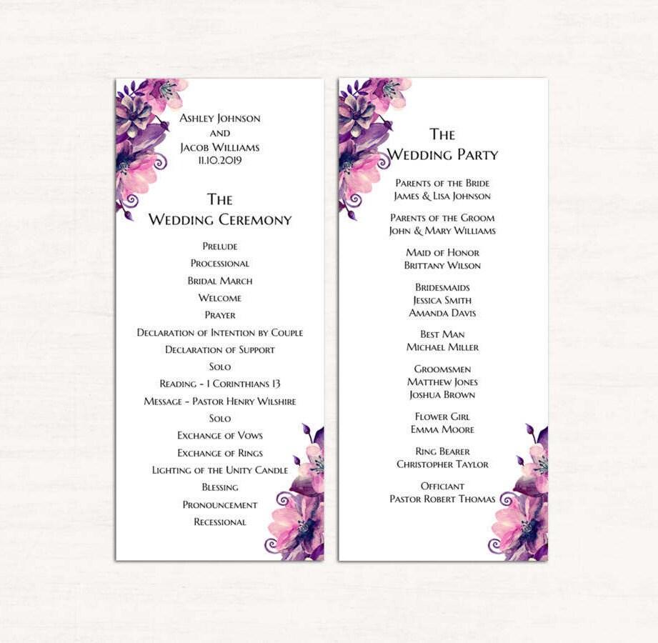 Atemberaubend Kostenlose Hochzeitsprogramm Vorlagen Zeitgenössisch ...