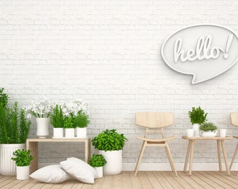 Hello / / object deco / / typographic object / / decorative PVC / / wood Decoration / / bedroom