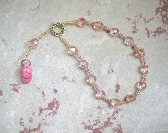 Goddess Prayer Beads with Deep Rose Ceramic Goddess Pendant