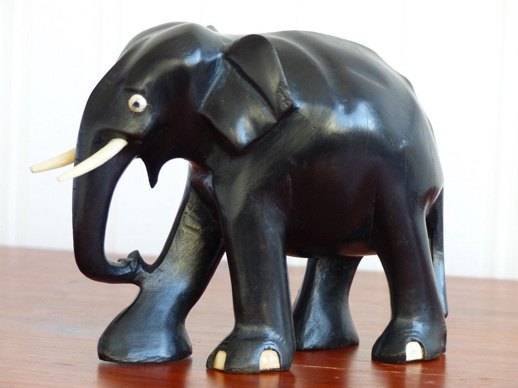 Ebony elephant. African wood animal sculpture. 1960s Katanga