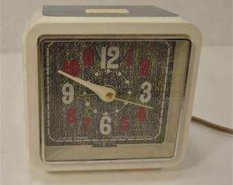 Vintage 1070's Westclox Denim Style electric alarm clock