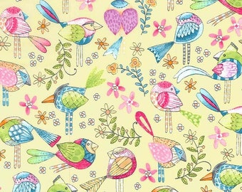 Michael Miller Birds - Tweet Me /Yellow/Cotton/Sewing/Fabric/Quilting
