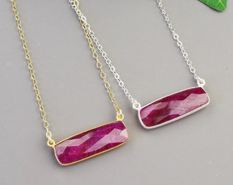 Ruby Necklace - Bezel Gemstone Necklace - Silver or Gold Ruby Pendant - July Birthstone Jewelry  for Wife - Mothers Day Gift - Mom Birthday