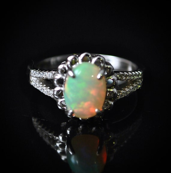 Sterling Silver Opal  Ring Sz 7.75  #10020