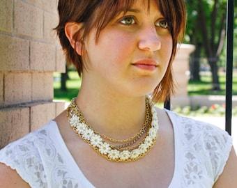 Vintage White Flower & Rhinestone in Gold Necklace - Multi Strand Chain