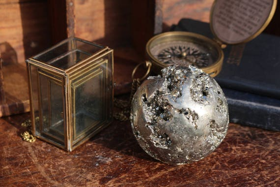Huge Pyrite Sphere 83mm, Large Gold Crystal Ball, Raw Pyrite Orb, Large Fools Gold Sphere, Golden Crystal Ball, Prosperity, Abundance