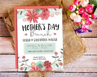 Mothers Day Brunch Invitation, Printable Brunch Invitation, Mothers Day, Floral, Bridal Shower Invitation Template, Printable Invitation