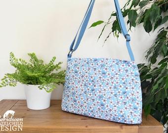 Blue Cherry Blossom Handbag, Cross Body Bag, Shoulder Bag, Floral Bag