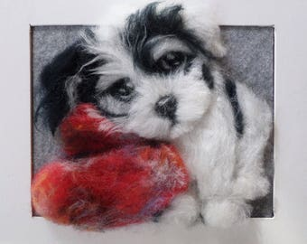 Valentine's Day Animal Gift, Custom Pet Art, Valentine's Wool Dog,  Fanny Dog, Wool Framed Art, Painting With Wool, Felted Wool Painting,