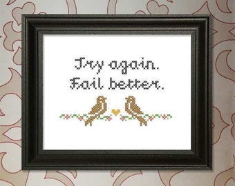 Try Again.  Fail Better.  Weeds Quote Cross-Stitch Pattern