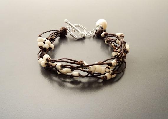 Boho Silver Bracelet - MOP - Sterling Silver Bracelet set with Mother of Pearl - Fresh Water Pearl Gemstone - Fine working - Boho jewelry.