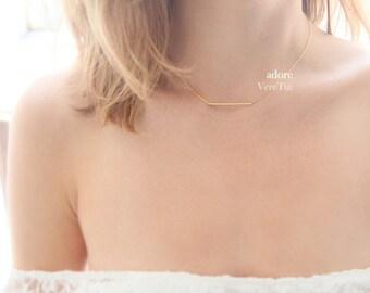Simple Clean Minimalist Slim Gold Tube Bar Necklace