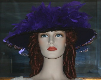 Special Order - Kentucky Derby Hat, Ascot Hat, Edwardian Hat, Titanic Hat, Lots of Feathers, Downton Abbey Hat - Shades of Purple Mist