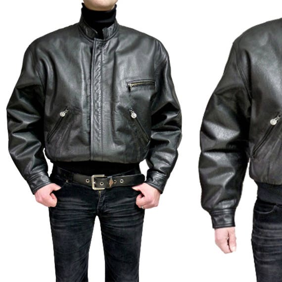 36215225b324 GIANNI VERSACE vintage leather men coat jacket 90s NEW black kleid robe  bomber Size L New 1990s