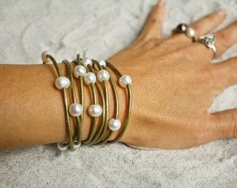 Leather pearl - Pearl and leather wrap bracelet - leather and pearl bracelet - pearl wrap bracelet necklace - leather wrap bracelet necklace