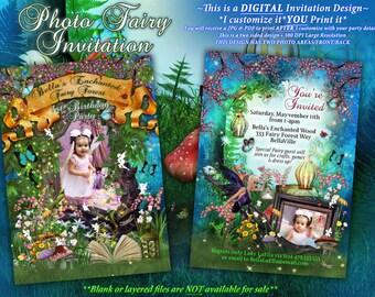 Photo Fairy Birthday Card, Fairy ForestCard, Fairy Party, Faerie Invitations, Fairies and Unicorns