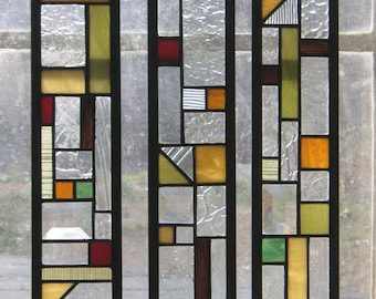 """Stained Glass Window Panel--3 Cabinet Door Inserts 3 3/8"""" x 17 3/8"""""""