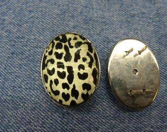 rhinestone oval claw - Pearl & Black