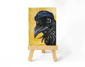 Raven Art, ACEO Painting, Original Artwork, Black Crow, Blue Tuque, Wildlife Illustration, Bird Lover, Woodland Animal Portrait