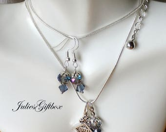 """Bird House Necklace Rainbow Topaz Crystal & Navy Crystal Earring Set-19"""" + 2"""" Ext. SP Snake Chain-Ready to Ship Free US Domestic"""