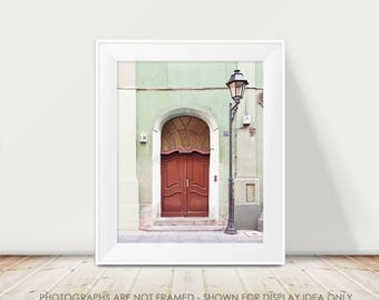 Door Photograph, Europe Photography, Travel, Wanderlust, European, Poland Photography, Mint and Red Decor, Art Print, Adventure, City Street